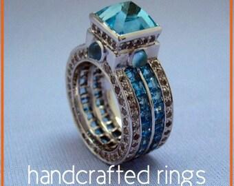 Blue Topaz and Sapphire Ring - Multi Gemstone Eternity Ring - Alternative Unique Art Designer Ring - December Birthstone  - Custom Gem Ring