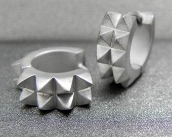 Cyber spine hoop earrings, sterling silver hoop earrings, huggie hoop earrings, hoop earring, white gold hoop earrings, E154MW