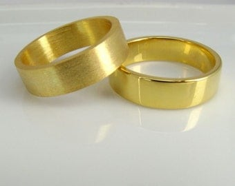 Matching Yellow Gold Plated Wedding Rings - Real 24K gold plated over 925 Sterling Silver - Promise Anniversary Bands for Men Women