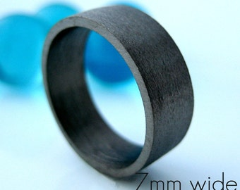 7mm wide wedding band, black gold ring, personalize and engrave wedding anniversary flat tube ring,  black wedding ring