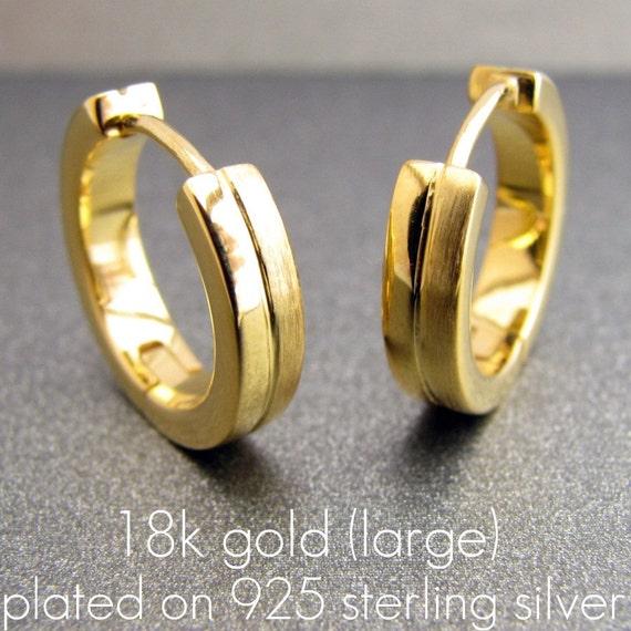 mens 18k gold earrings hoop huggie 925 by 360jewelselite