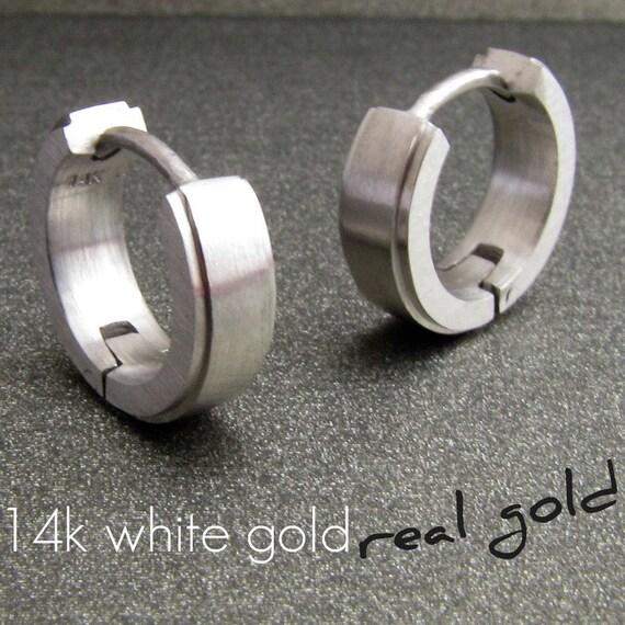 Deep arctic white gold hoop earrings, white gold hoop earrings, men's gold hoop earrings, solid gold hoops, huggie hoop earrings, E001 MW