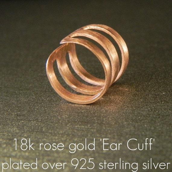 Triumvirate ring ear cuff , rose gold ear wrap, men's ear cuff, cartilage earring, non piercing earring, clip on earring, 102B