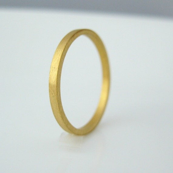 Promotion - 14K Solid Gold Ring - flat square stackable 1.5mm Tiny Skinny Wedding Band - Wedding Anniversary Promise - Matte or Shiny