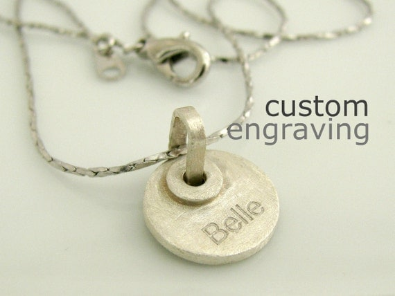 "1/2"" Engravable Personalized Pendant or Charm - Tiny 925 Sterling Silver - For Necklace Bracelet - Custom Laser Engraving"