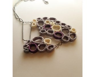 Crochet circle necklace -  voronoy cells in violet, lilac and ivory