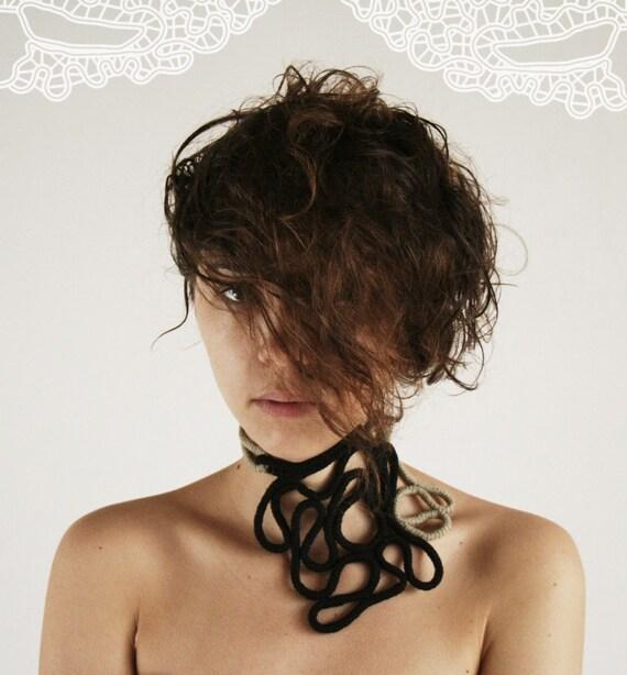 SALE - Inherent Labyrinth -crochet necklace -ooak