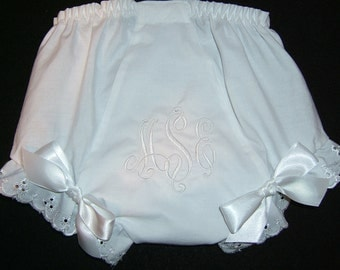 Personalized White-on-White Diaper Cover Bloomer Fancy Panties Monogrammed Baptism Christening VCTR
