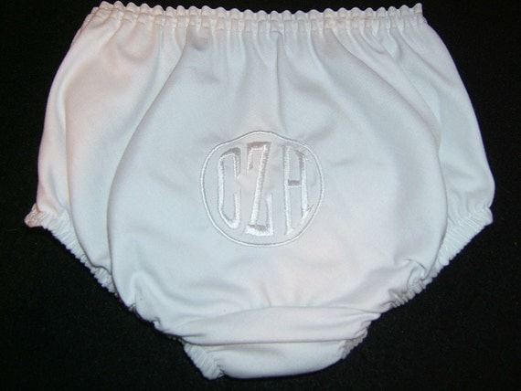 Personalized Christening/Baptism Boy Diaper Cover Monogrammed White on White