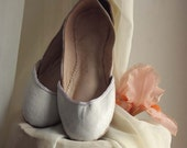RESERVED for Lisa, soft leather ballet flats, White Lilies