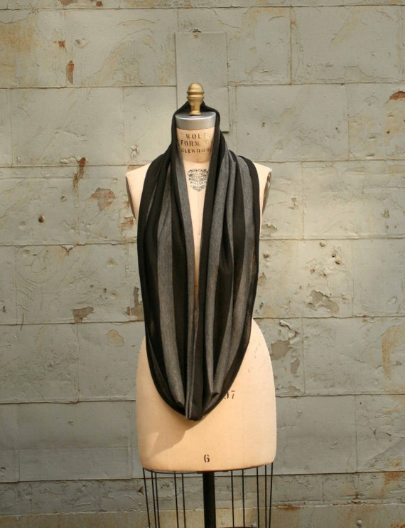 Scarf Jersey Circle Scarves Womens Infinity Scarf Charcoal Gray and Black Stripe Cowl Scarf Ruffled Edge Scarves