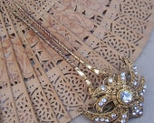 Vintage hair comb Victorian  Indian gold tone lotus (AAP)