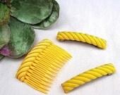 Vintage hair barrette 3 yellow hair accessories hair comb hair clip hair slide hair jewelry hair pin(E)