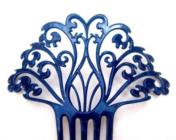 Hair comb, Art Deco blue openwork Spanish mantilla type