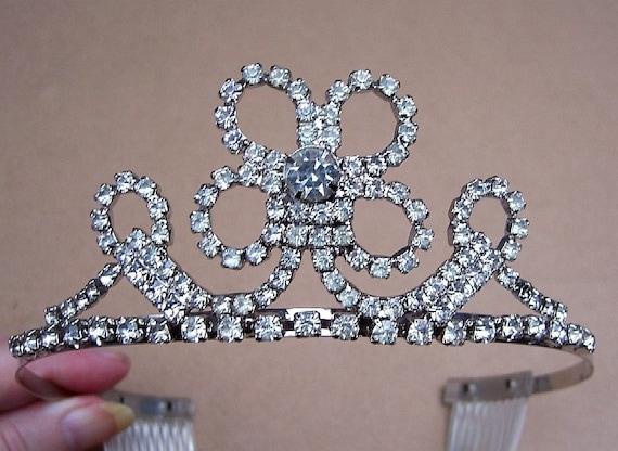 Vintage tiara, clear rhinestone openwork hair accessory