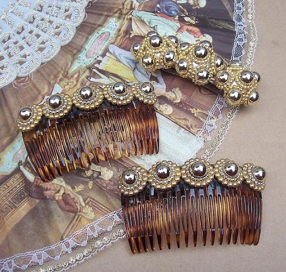 Vintage hair combs barrette set David Salvatore gold tone bobbles hair accessories