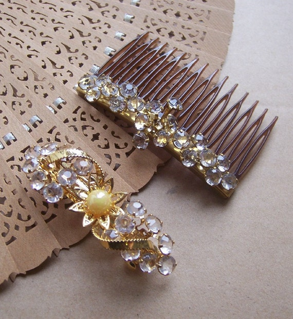 Vintage hair accessories glitzy rhinestone hair comb and barrette 1980s (O)