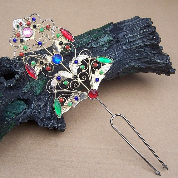 Vintage Indonesia Sumatra hair comb filigree glass stones hair accessory hair pin hair pick  (AAE)