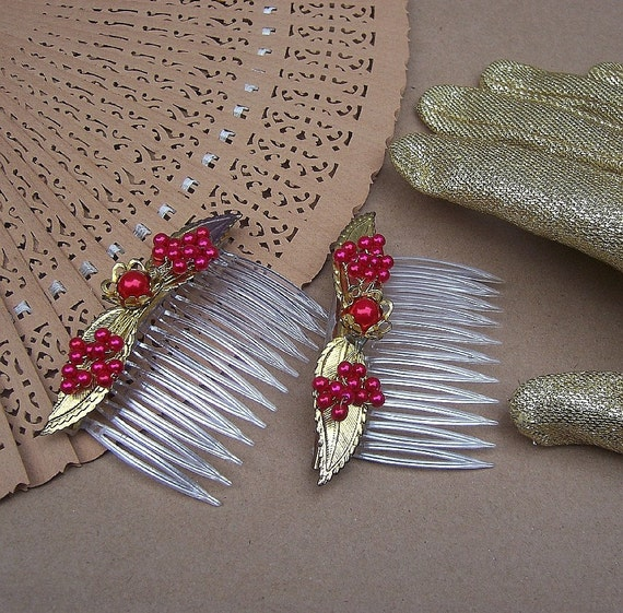 Vintage hair combs matched pair with red bead embellishment hair accessories 1950s