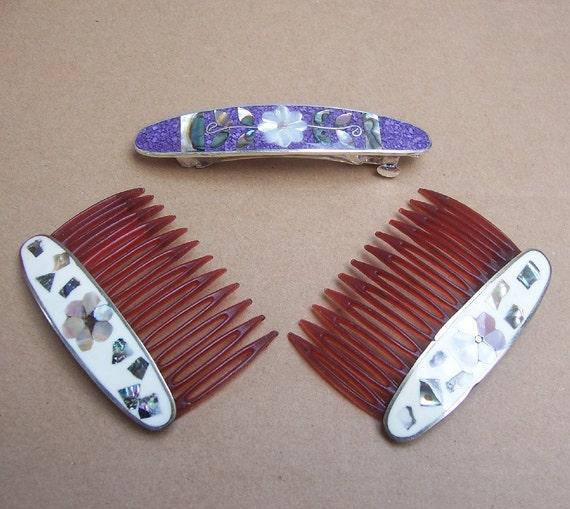 Vintage hair accessories Mexican Alpaca abalone inlay hair combs barrettes (CC)
