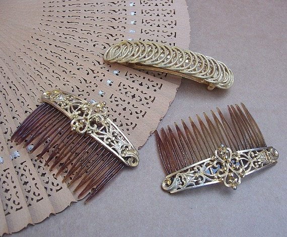 Vintage hair combs 3 goldtone Baroque style hair accessories