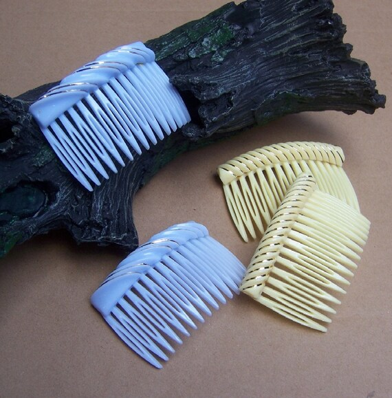 Retro vintage hair combs, 4 pale yellow and blue theme hair accessories1980s