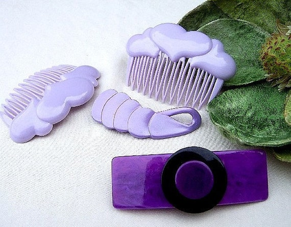 Vintage hair accessories mauve theme hair comb hair barrette hair slide hair clip 1980s (E)