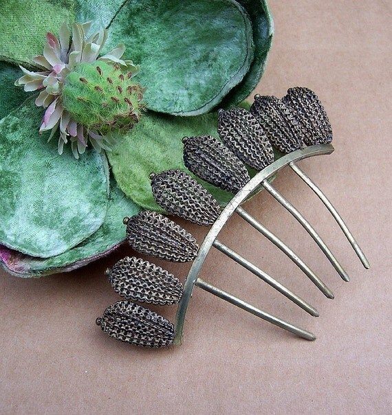 silver antique comb tiara