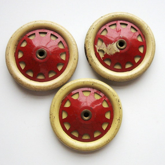 Vintage Meccano Toy Wheels France Set Of 3 By