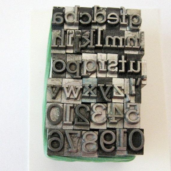 Stymie 18 pt Metal Letterpress Type 43 pc Lowercase Symbols