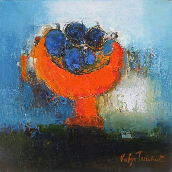 "Orange cup with turquoise small 12""x12"" print from my original oil on canvas impressionism contemporary still life colourful and lively art"