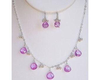 Loose Beads Light Amethyst CZ Heart Briolettes - set of 2