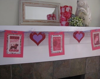 Valentine Garland in Red and Lavender    Banner Wedding Decor