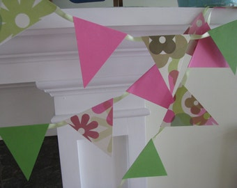 Bright Pink and Green Flower Banner   Spring Banner Home Decor  Dorm
