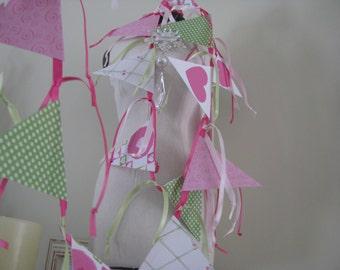 Valentines Banner---Love--Spring Wedding Decor Garland Bunting Hearts
