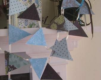 Browns Blues and Polka a Dots Banner 10 feet  coastal