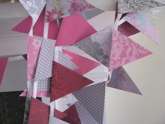 Random Print Gray and Burgundy Pink 10 Foot Banner