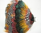 Beulah - Green, Brown, and Yellow Guinea and Pheasant Feather Headband