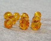 Honey Colored 8mm Czech Fire Polished Glass Beads (10)