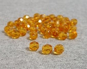 Honey Colored 6mm Czech Fire Polished Glass Beads (50)