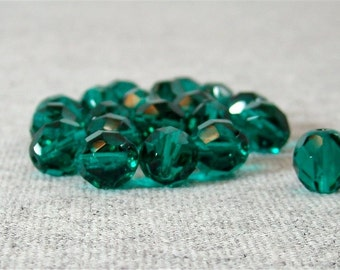 Teal 8mm Czech Fire Polished Glass Beads (20)