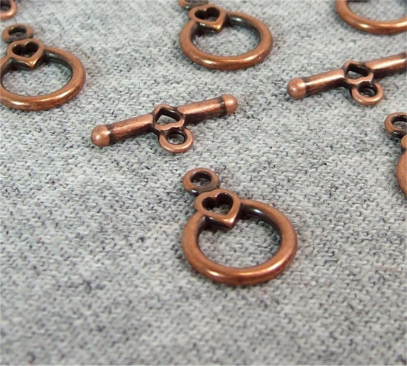 Copper Hearts Toggle Clasp 10x9mm (5)