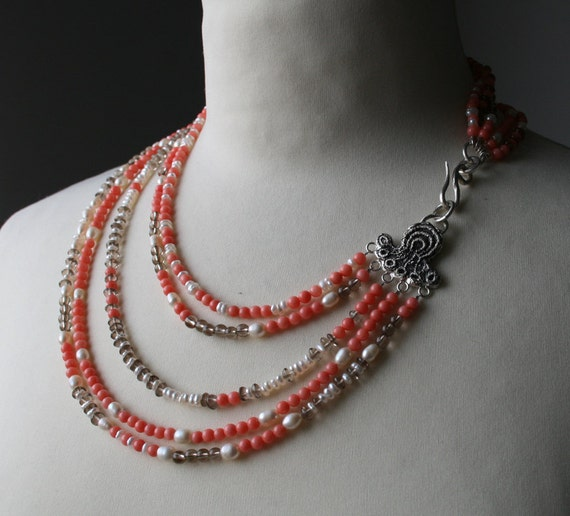 SALE - 50% OFF Multi strand pink coral, freshwater pearls, smoky quartz  and sterling silver necklace - OOAK