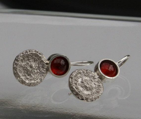 Deep Red Almandite Garnet and Sterling Silver Earrings