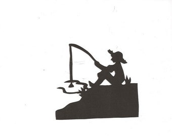 Little boy fishing silhouette