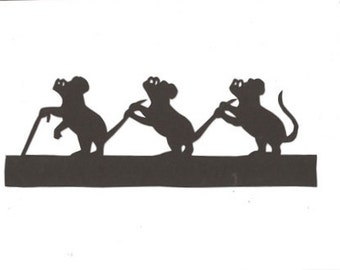 Three blind mice Mother Goose collection silhouette