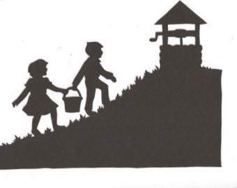 Jack and Jill part one Mother Goose collection silhouette