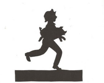 Tom Tom the Pipers son mother goose collection silhouette