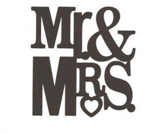 Mr and Mrs word  silhouette