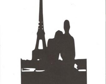 Lovers in Paris silhouette